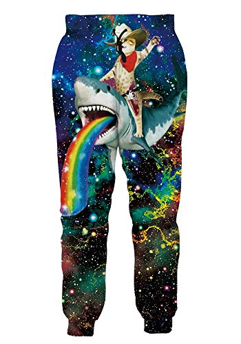 Mens Athletic Fit Joggers Pants All Over Print Baggy Track Polo Trousers Cowboy Cat Riding A Shark Pouring Rainbow Fashion Stylish Sportwear Slacks for Male Guys Big Boys Casual Wear
