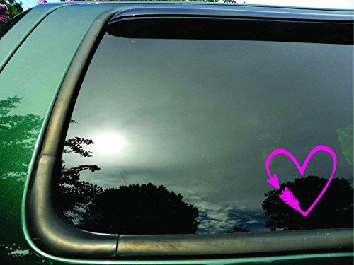 (Arrow Heart- Die Cut Pink Vinyl Window Decal/sticker for Car or Truck, Laptop )