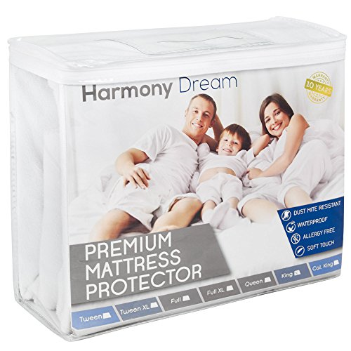 Organic Cotton Futon Mattress (Full Size Harmony Dream Cotton Terry Mattress Protector - Premium Hypoallergenic Waterproof Mattress Cover - Vinyl Free, Fits Well, Machine Washable, Noiseless – 10 Year Warranty)