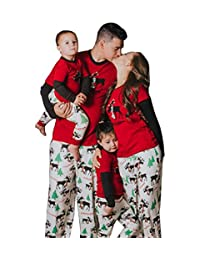 Moore Christmas Family Pajamas Set Dad Mom Kids Deer Matching Outfits Sleepwear
