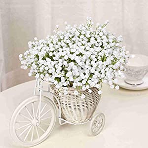 Zereff Ornamental vases Artificial Flowers Single Branch Baby's Breath Artificial Flowers Fake Flower for Home Wedding Decoration Shooting Props 56