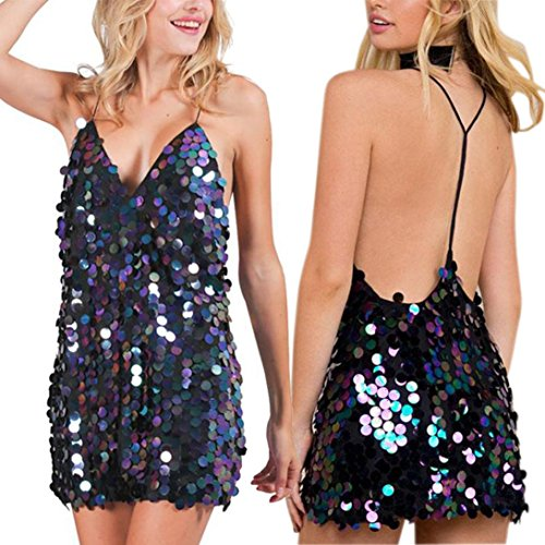 Snowfoller Sexy Women Sequin Plunging Backless Party Mini Dress Fashion Ladies Deep V Neck Sleeveless Bodycon Dress Halter Clubwear (M, Black) by Snowfoller