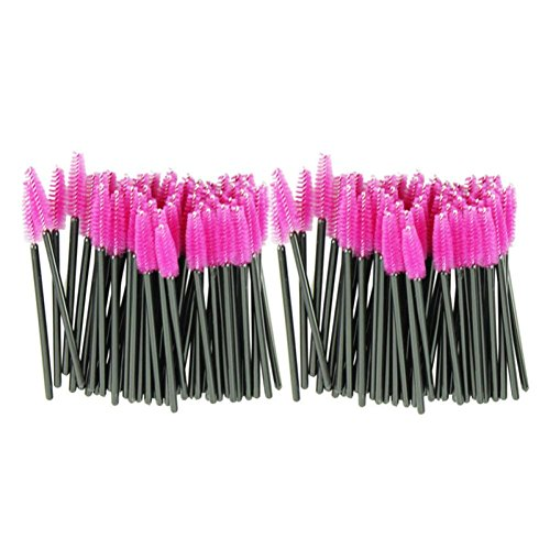Yeefant 100PCS Mascara Wands Applicator Spoolers Lash Make Up Brush Pink Synthetic Fiber One-Off Disposable Eyelash (Lash Wash Makeup Remover)