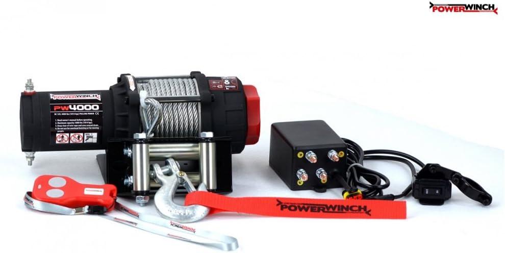 Powerwinch Elektrische Seilwinde 4000lbs Atv 12v 1814kg Funk Utv Quad Offroad Auto