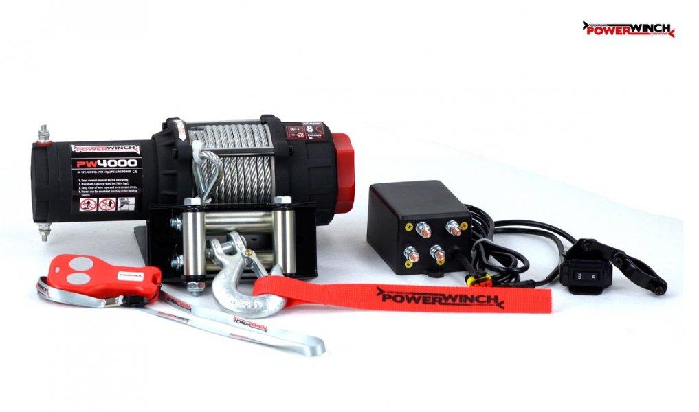 Elektrische Seilwinde PowerWinch 4000lbs ATV 12V 1814kg Funk UTV Quad OffRoad