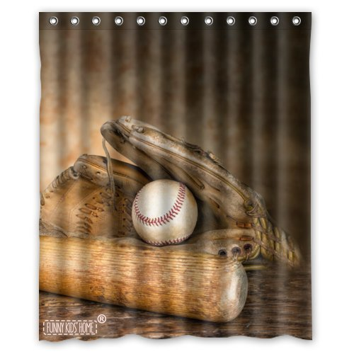 Cool Baseball Style I Love Sport- Fashion Personalize Custom Bathroom Shower Curtain Waterproof Polyester Fabric 60(w) x72(h) Rings Included