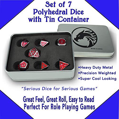 RNK Gaming Set of 7 Metal Polyhedral Dice Enamel with Tin Storage Case (red) (Enamel Cut Out)