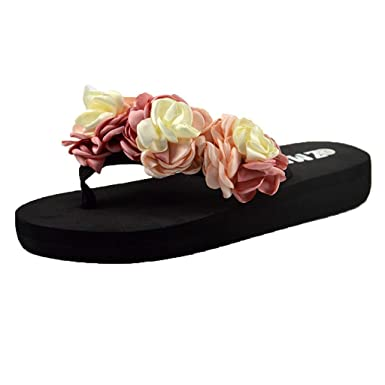 5124e388a Amazon.com  refulgence Women Bohemian Slipper Mixed Color Flower Muffin Flat  Bottom Wear Resistant Beach Shoes Sandals  Clothing