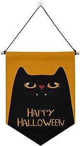 ALAZA Hipster Happy Halloween Black Cat Door Banner Flag Wall Hanging Decor Gift for Kids boy Girl Nursery Room Front Door Decoration