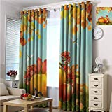 hengshu Harvest Blackout Curtains - Gasket Insulation Fall Season Yield Thanksgiving Image Fallen Leaves Branches Pumpkins Blackout Curtains for The Living Room W96 x L96 Inch Orange Vermilion Green