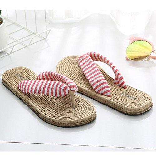 Shoes Flat Flip Slip Sandals Beach Slipper Pink Goal Sandals Breathable Non Flop Linen Wind Women's qxTU1OYw