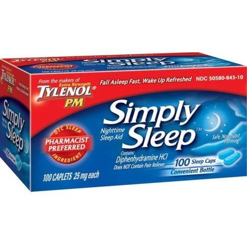 TYLENOL PM SIMPLY NIGHTTIME SLEEP AID 100 CAPLETS 25MG