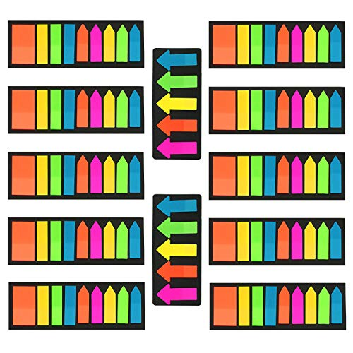 2000 Pieces Sticky Notes Index Label Text Highlighter Strips, Transparent Tabs Flags Stickers for Page Marker, PietyPet