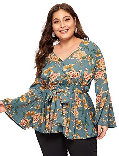 Romwe Women's Plus Size Floral Print Long Sleeve Belt Tie Peplum Wrap Blouse Top Shirts Multicolore 3XL