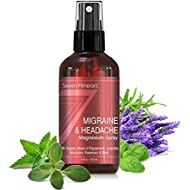 Natural Migraine Relief Spray - Powerful Magnesium Oil Blend with Essential Oils (Lavender, Sweet Marjoram, Peppermint, Rosemary, and Basil) for Headache Relief - Made in USA - Free Trigger Tracker In