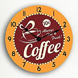 Classical Creations Coffee Hot & Fresh Retro Style 12 Silent Wall Clock