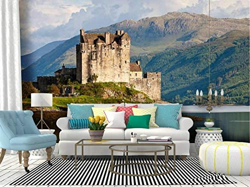 Amazon Com Self Adhesive Wallpaper Roll Paper Eilean Donan Castle Scotland Uk Castle In Mountainss And Pictures Removable Peel And Stick Wallpaper Decorative Wall Mural Posters Home Covering Interior Film Kitchen Dining
