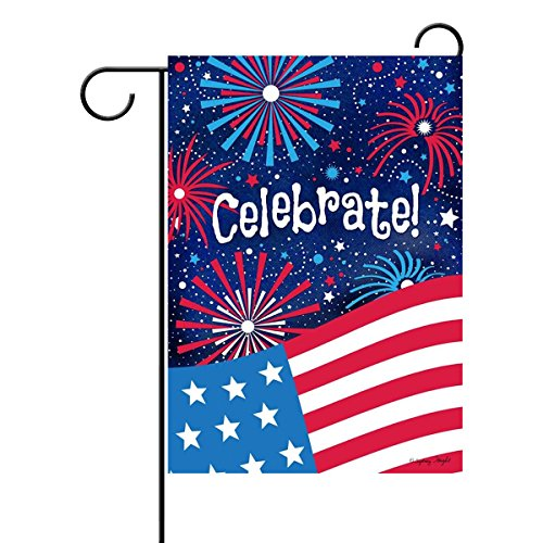 MZYARD Celebrate 4th of July Double Sided Garden Flag USA House Yard Flag America Independence Day Memorial Day Veterans Day (Usa House)