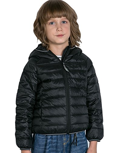 CHERRY CHICK Boy's Ultralight Packable Down Hooded Jacket(48 in, Black-LD) (Puffy Jacket Layer)