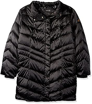 Steve Madden Women's Down Filled Puffer Coat with Faux Fur Trimmed Hood