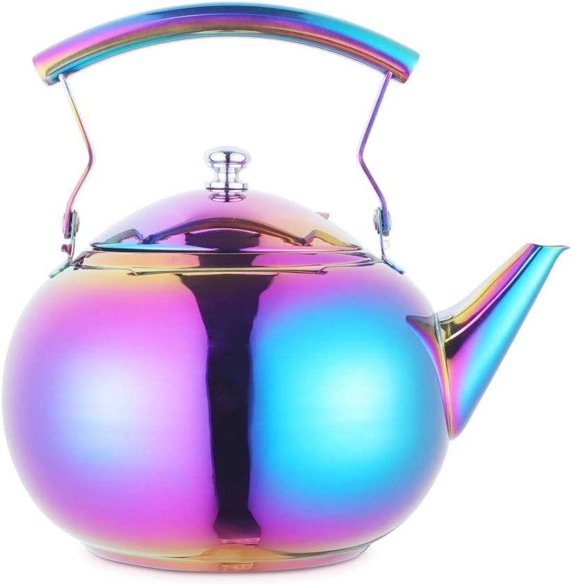 Beautiful Tea Kettle with Infuser for Loose Leaf Tea Stainless Steel Hot Water Boling Coffee Tea pots Strainer Tea Maker Steeper Induction Gas Stovetop Safe Rainbow 2 Quart 68 Ounce