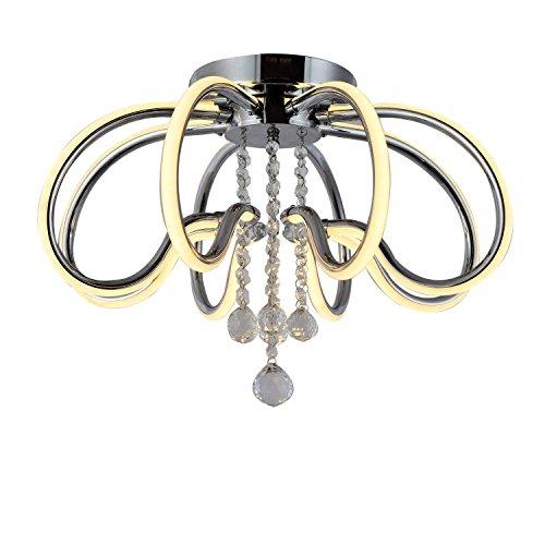 LED Ceiling Light Fixture, Flush Mount Lamp Dimmable Chandelier Clear K9 Raindrop Crystal for Bedroom meetingroom Bedroom W18.9H14.2