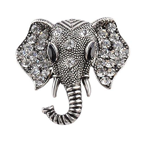 Iumer Vintage Alloy Rhinestone Elephant Brooch Pins Crystal Brooch Jewelry Gift Old (Old Vintage Rhinestone)