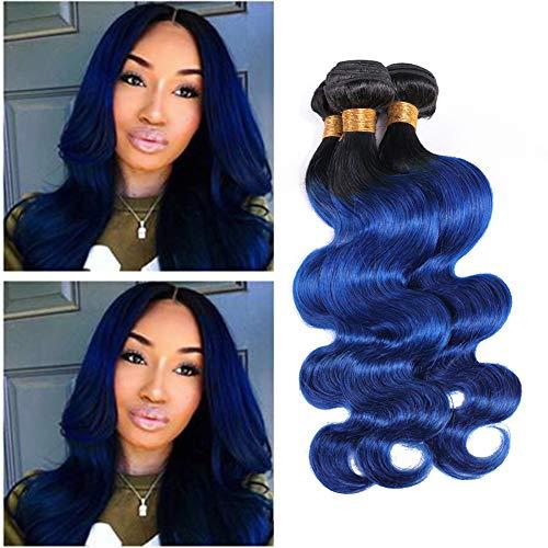 Ombre Bundles Blue Human Hair Bundles Of Brazilian Hair Dark Root Two Tone Bundle Extension Virgin Body Wave 1B/Blue Remy Hair 3Pcs Wholesale Lots Ombre Weave 100g/Pcs 12 14 16 Inch (Best Colored Weave Hair)