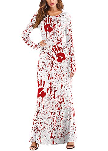 Halloween Womens Blood Maxi Dress Printed Long Sleeve
