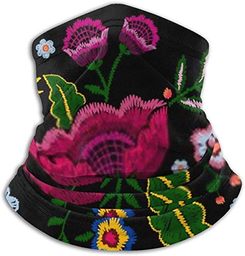 Embroidery Native implify Flowers Beauty Fashion Mexican Nature Unisex Fleece Neck Warmer Gaiter Microfiber Face Mask,Neck Gaiter,Magic Scarf for Dust Outdoors