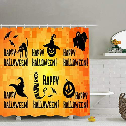 jtykftuf Happy Halloween Title Set Pumpkin Lantern Holidays Religion Fabric Bathroom Decor Set with Hooks, 72 x 72 Inches -