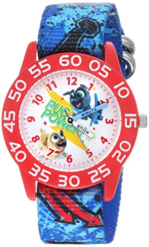 Disney Boy's 'Puppy Dog' Quartz Plastic and Nylon Casual Watch, Color:Blue (Model: WDS000427)