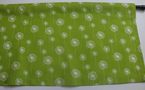 Valance Lime and White Decorator Fabric Dandelion Flower Window Treatment Topper For Sale