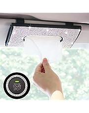Bling Car Tissue Holder Mask Holder Case - Sparkling Car Visor Organizer Napkin Box Tissue Dispenser for Car - PU Leather with Full White Rhinestone