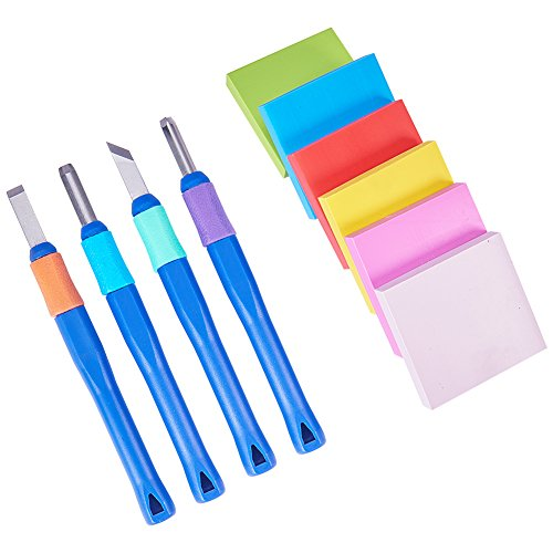 NBEADS 6 Pcs Rubber Stamp Carving Block with 4pcs Carving Chisels, Rubber Stamp Carving Kit for Scrapbooking, Postcards, Invitation Cards, DIY Project, Mixed Color