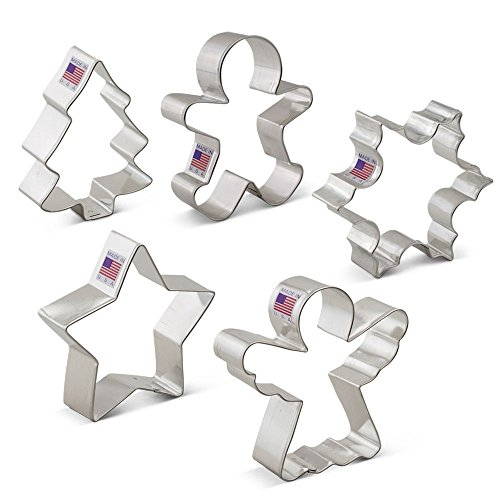 Christmas / Holiday Cookie Cutter Set - 5 Piece - Snowflake, Star, Christmas Tree, Gingerbread Man and Angel - Ann Clark Cookie Cutters - US Tin Plated Steel