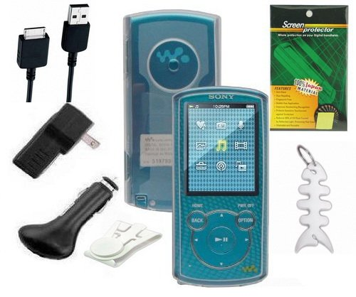 7 Items Accessory Combo Kit for Sony E Series (NWZ-E463, NWZ-E464 and NWZ-E465) Walkman® Video MP3 Player: Includes (Clear) Soft Gel Thermoplastic Polyurethane TPU Skin Case Cover, LCD Screen Protector, USB Wall Charger, USB Car Charger, 2in1 USB Data Cable, Belt Clip and Fishbone Style Keychain