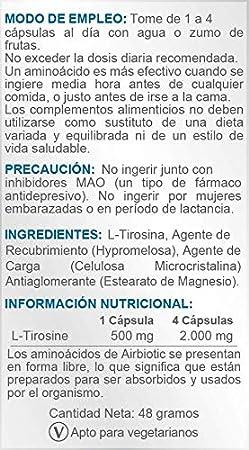 Airbiotic AB - L-Tirosina AB 500 mg - 60 cápsulas. Aminoácidos para estimular el cerebro y elevar niveles hormonales: Amazon.es: Salud y cuidado personal