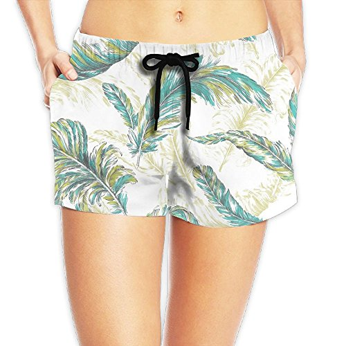 WHENLUCKY Cool Feather Patterns Painting Beach Shorts Summer Hot Pants Swimming Trunks Tropical