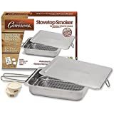 "Indoor - Outdoor Stovetop Smoker w Wood Chips and Recipes - 11"" x 15"" x 3.5"" Stainless Steel Smoker - Works On Any Heat Source"