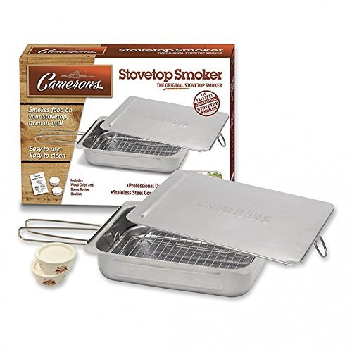 Stovetop Smoker - Stainless Steel Indoor Or Outdoor Smoker Works On Any Heat Source - with Recipe Guide and Wood Chips