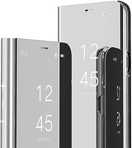 IMEIKONST Samsung S7 Edge Funda Carcasa Espejo Mirror Design Caso Clear View Makeup Standing Protectora Flip Folio PC + PU Cover Cubierta para Samsung Galaxy S7 Edge Flip Mirror: Silver QH