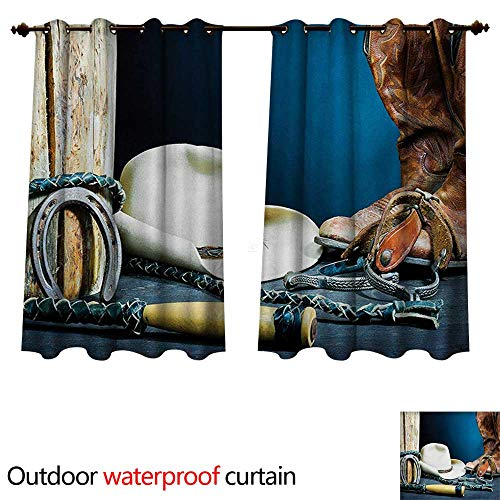 WilliamsDecor Western Outdoor Curtain for Patio Equestrian Backdrop with Antique Horseshoe Hat Cowboy Texas Photography W55 x L45(140cm x ()