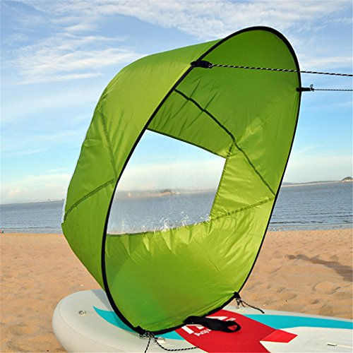 Mexidi 42 inches Foldable Kayak Downwind Paddle Wind Sail, Kayak Sail Kit, Portable Paddle Board Instant Popup&Easy Setup & Deploys Quickly,Wind Sail, Kayak Canoe Accessories Enclosed Manual (Green)