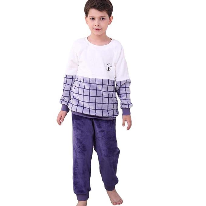 eed55b11b Bwiv Pijama Conjunto 2 Piezas Camiseta Pantalones de Pijama para Niños de  Franela Suave de Cuadros para Invierno  Amazon.es  Ropa y accesorios