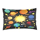 ALAZA Solar System Space Planet Cotton Lint Pillow Case,Double-sided Printing Home Decor Pillowcase Size 16''x24'',for Bedroom Women Girl Boy