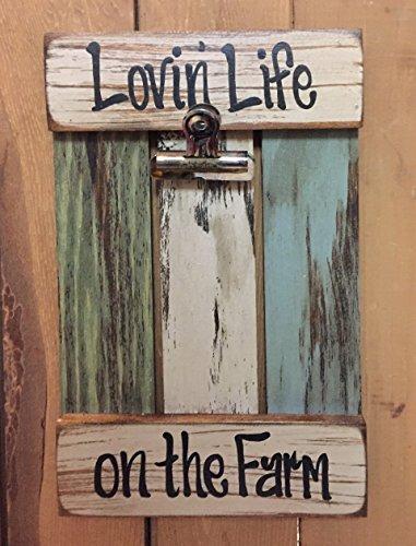Farmhouse Wall Decor PHOTO HOLDER Sign RECLAIMED Wood Shutter / Pallet Picture Frame - LOVIN' LIFE ON THE FARM