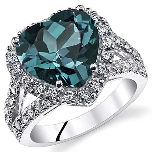5.00 Carats Heart Shape Simulated Alexandrite Ring Sterling Silver Size 7