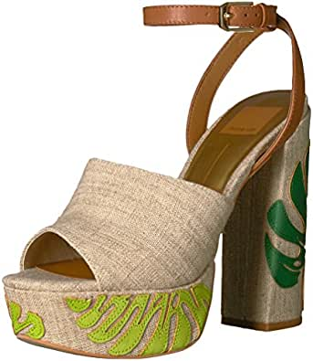 Dolce Vita Women's Lando Platform Sandal, Green Palm Print, 6 UK/6 M US
