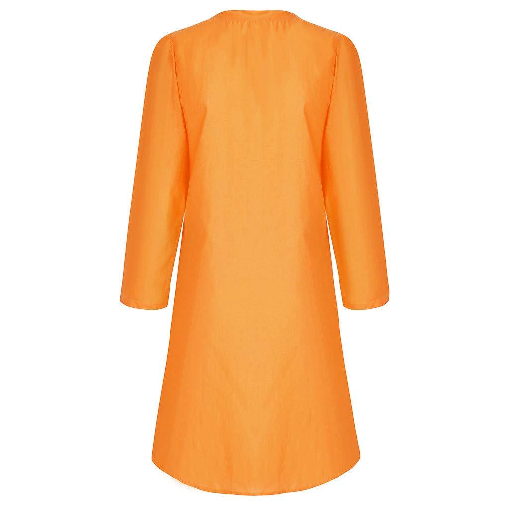 Staron Womens Vintage Autumn Dress Long Sleeve O-Neck Plus Size Pullover A Line Beach Mini Dress